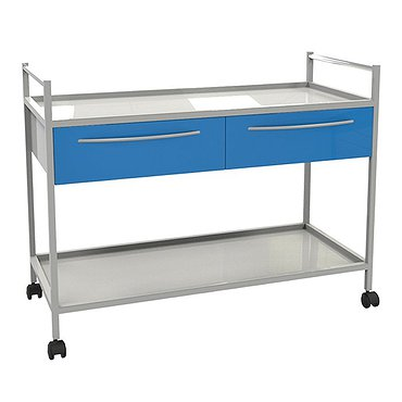 Medical trolley with 2 shelves and 2 drawers