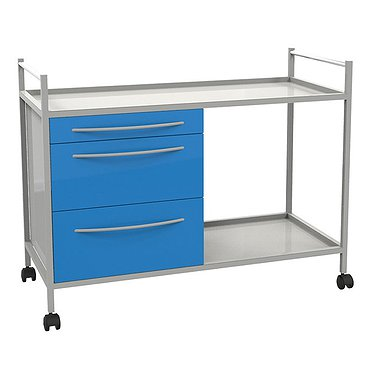 Medical trolley with 2 shelves and 3 drawers