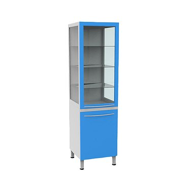 Medical glass cabinet with drawer unit