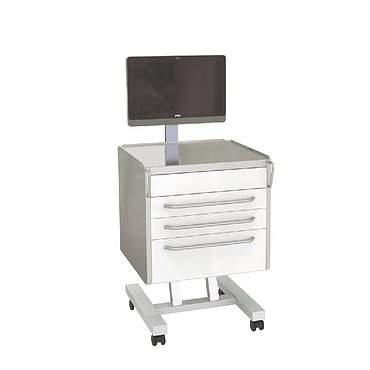 Mobile doctor's medical table under monoblock