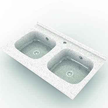 Double sink of artificial stone