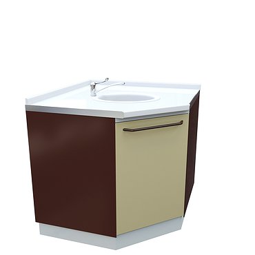 Medical corner drawer unit with sink