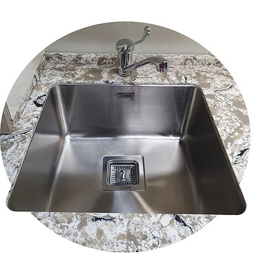 Glued stainless steel sink