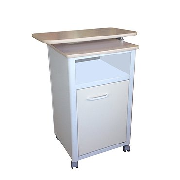 Medical bedside metallic cabinet with door and drawer (front faces and tabletop made of laminated chipboard), with turntable (adjustable in height)