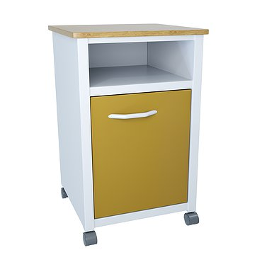 Medical bedside metallic cabinet with door and drawer