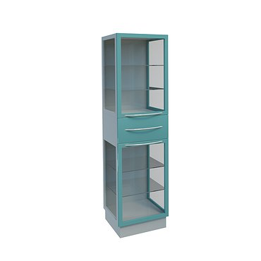 Glass cabinet with drawer and 4 shelves