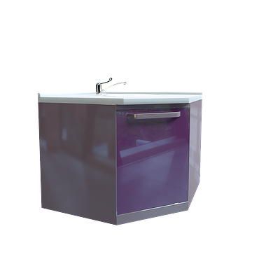 Corner module with sink and waste basket