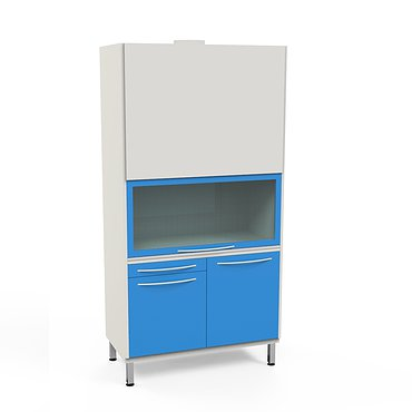 Laboratory cabinet with air extraction system and heating element