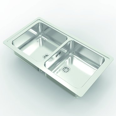 Double sink made of stainless steel